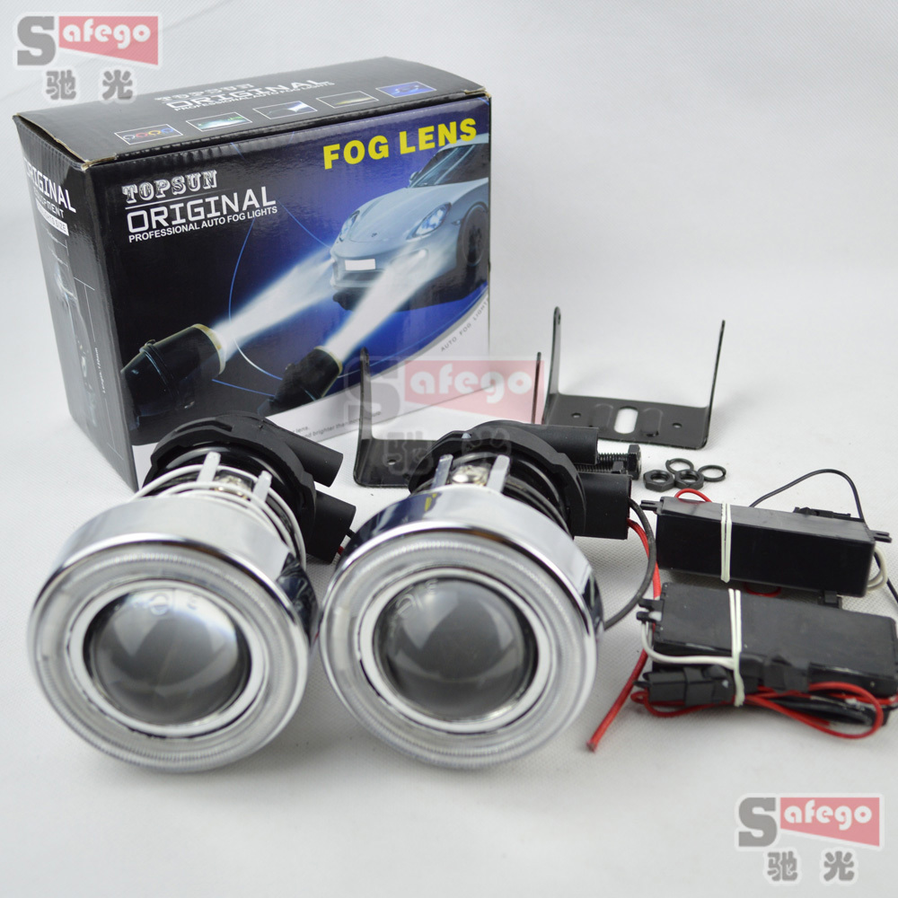 Fog Lights Lamp Lens with angel eye with H3 Halogen H3 Driving Lamps with Protective cover H3 halogen projector lens