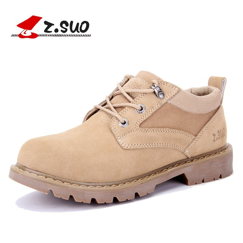 ZSuo Suede Leather Casual Shoes men, Spring Autumn outdoor leisure cow suede men shoes military breathable lace-up Tactica shoes stylish suede and tie up design casual shoes for men