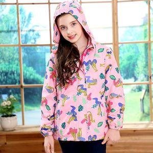 Image 4 - Waterproof Fitted Waist Baby Girls Jackets Warm Floral Animals Printed Child Coat Polar Fleece Children Outerwear 3 12 Years Old