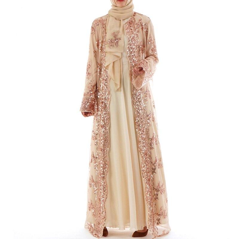 Aliexpress.com   Buy 2019 Summer Abaya Dubai Women Long Sequined Lace Mesh  Kimono Cardigan Muslim Hijab Dress Kaftan Abayas Turkish Islamic Clothing  from ... 29ddf024eef5