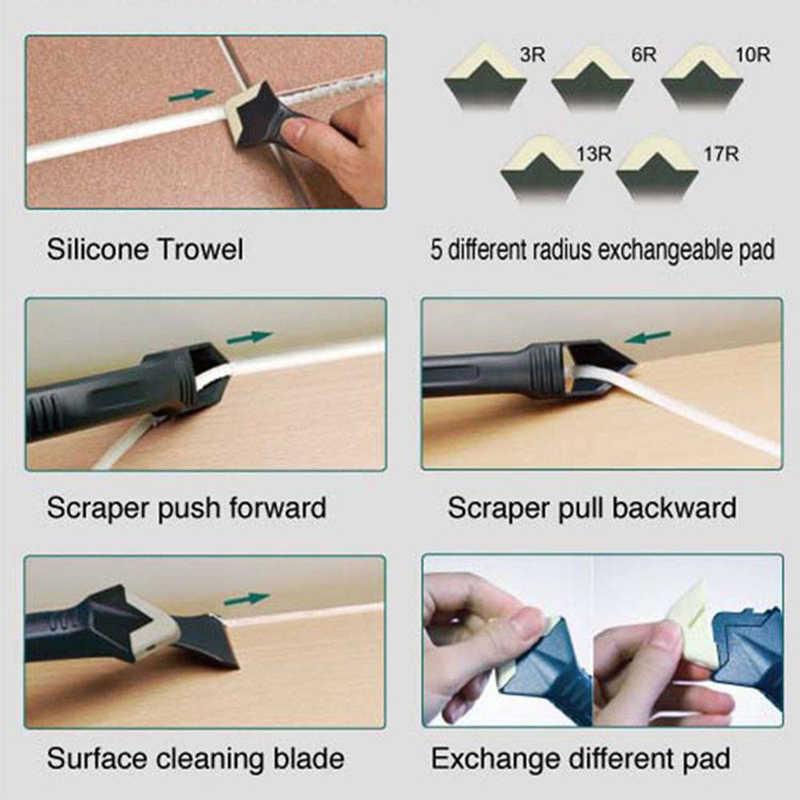 3 em 1 Ângulo Grout Raspador de Silicone Selante Calafetar Kit Tool Set Removedor de Cimento Spreader Espátula Cozinha Janela Cleaner