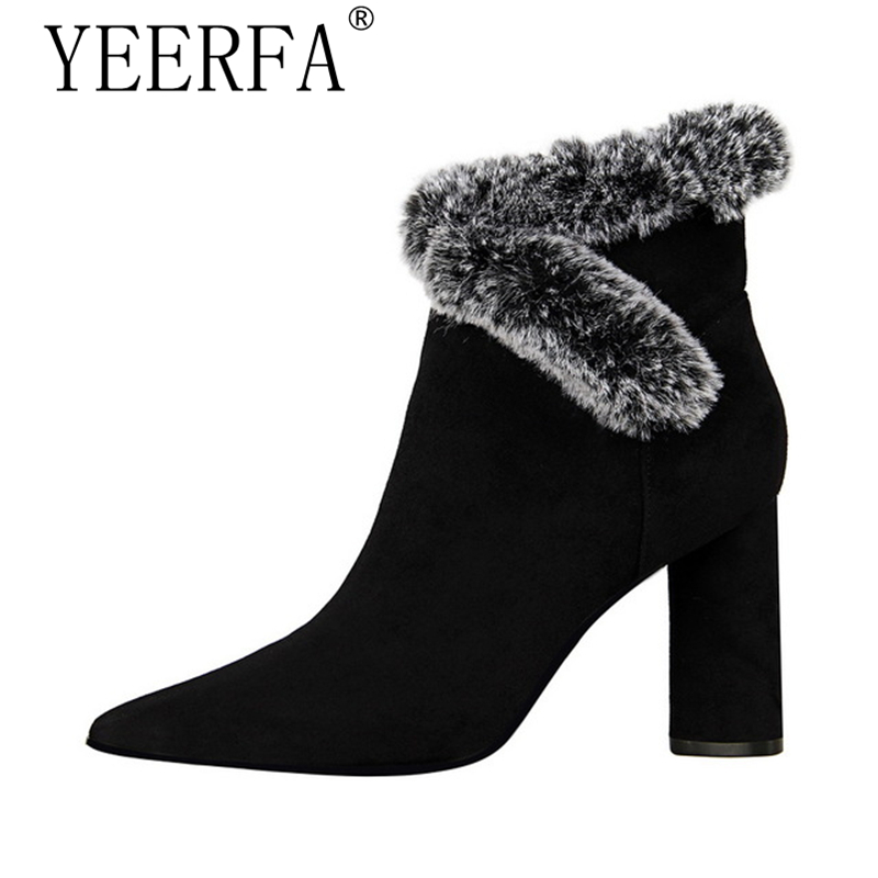 Rabbit Fur Women Boots High Heels Ankle Boots Pointed Toe 8.5cm 2017 New Short Boots Heels Winter Shoes Women High Heels 2017 winter new clothes to overcome the coat of women in the long reed rabbit hair fur fur coat fox raccoon fur collar