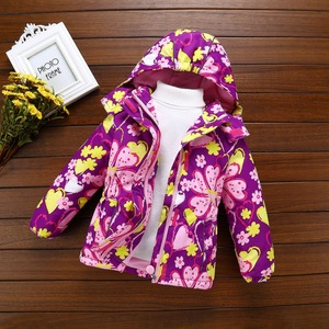 Image 1 - Fashion Heavyweight Children Outfits Waterproof Purple Printing Baby Girls Jackets Warm Cotton Winter Child Coat 3 12 Years Old