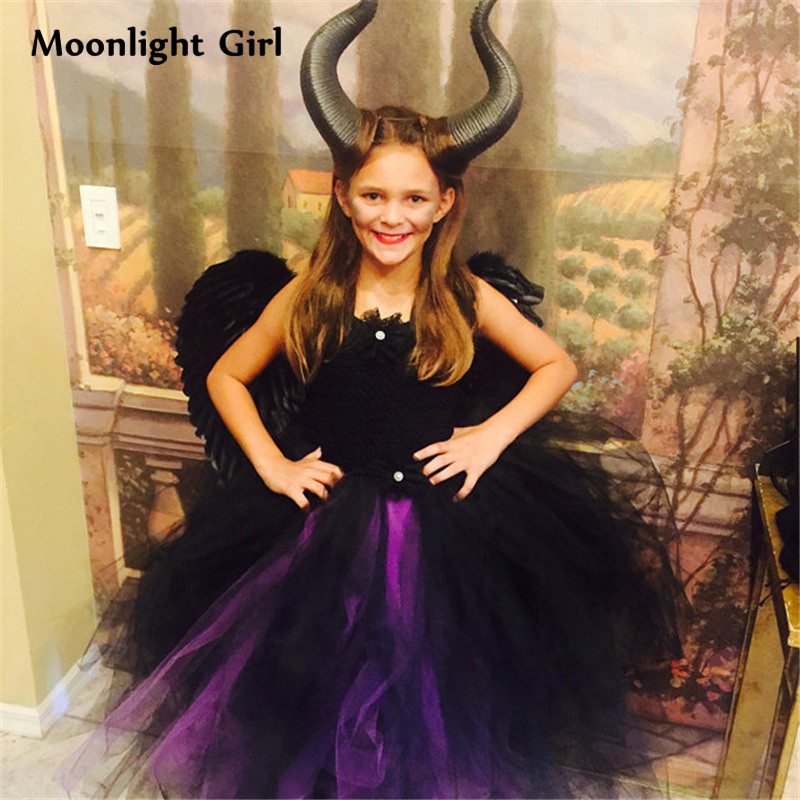 Us 18 67 32 Off Black Evil Girl Tutu Dress Maleficent Queen Dress Wings Horn Headbands Cosplay Halloween Costume For Kids Girls Dresses Pq018 In