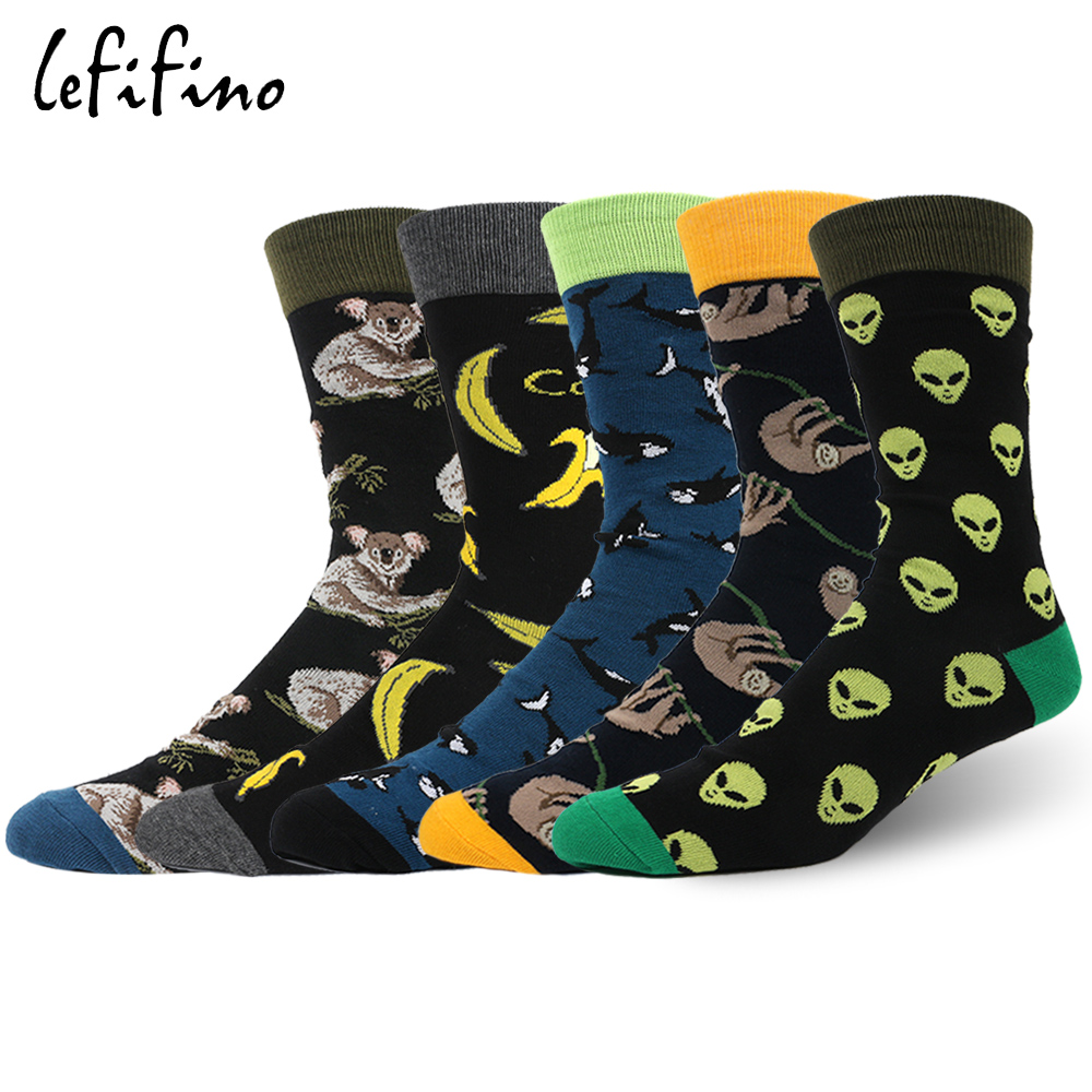 5 Pairs/lot Casual Brand Combed Cotton Mens Socks Novelty Creative Long Dress Socks Funny Hip Hop Cool Socks Big Size ZH01833