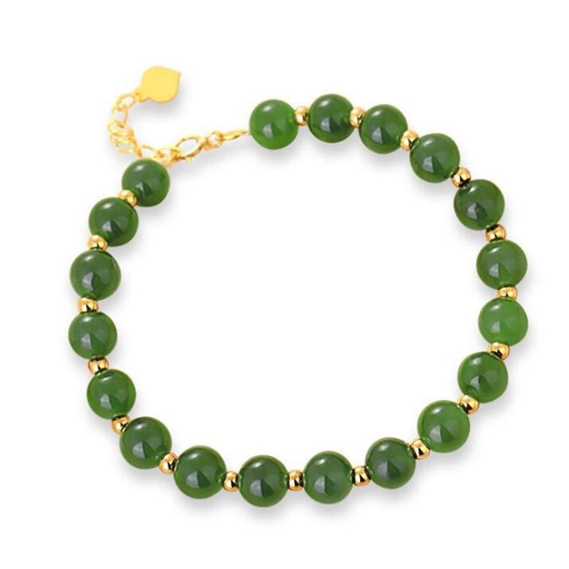 цена Classic 18K Gold Beaded Charm Bracelet For Women 6mm Genuine Green Jade Beaded Bracelet Birthday Gift 15-18cm Length