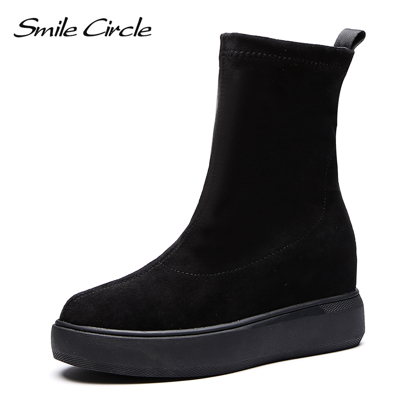 Smile Circle Slip-on Suede Elasticity Boots for Women Simple Round toe Flat short boots 2018 Autumn Elasticity Women Shoes black round toe suede slip on plimsolls
