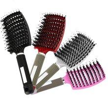 4 цвета женские волосы массаж головы расческа щетина нейлон расческа влажные кудрявые Detangle щетка для волос для салона парикмахерские инструменты для укладки