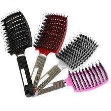 4 Color de las mujeres peine para masaje del cuero cabelludo cerdas cepillo de pelo de Nylon mojado rizado desenredar el pelo cepillo para salón de peluquería herramientas de estilismo