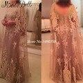 2016 шапки-рукава Большой размер мать невесты вечерние платья элегантный мыс кружева аппликация вечерние платья Vestidos Madrina