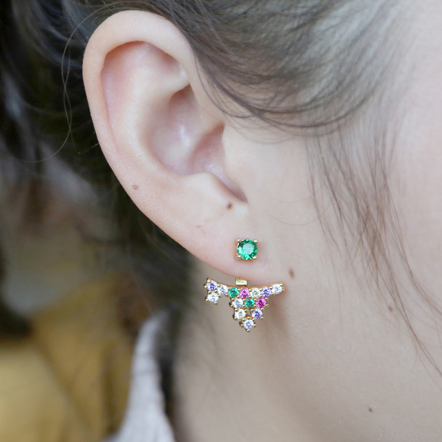 34103c9a2 Chic arrowhead earrings gold color micro pave rainbow dazzling cubic zircons  screwback with green cz fashion boho fan jewelry