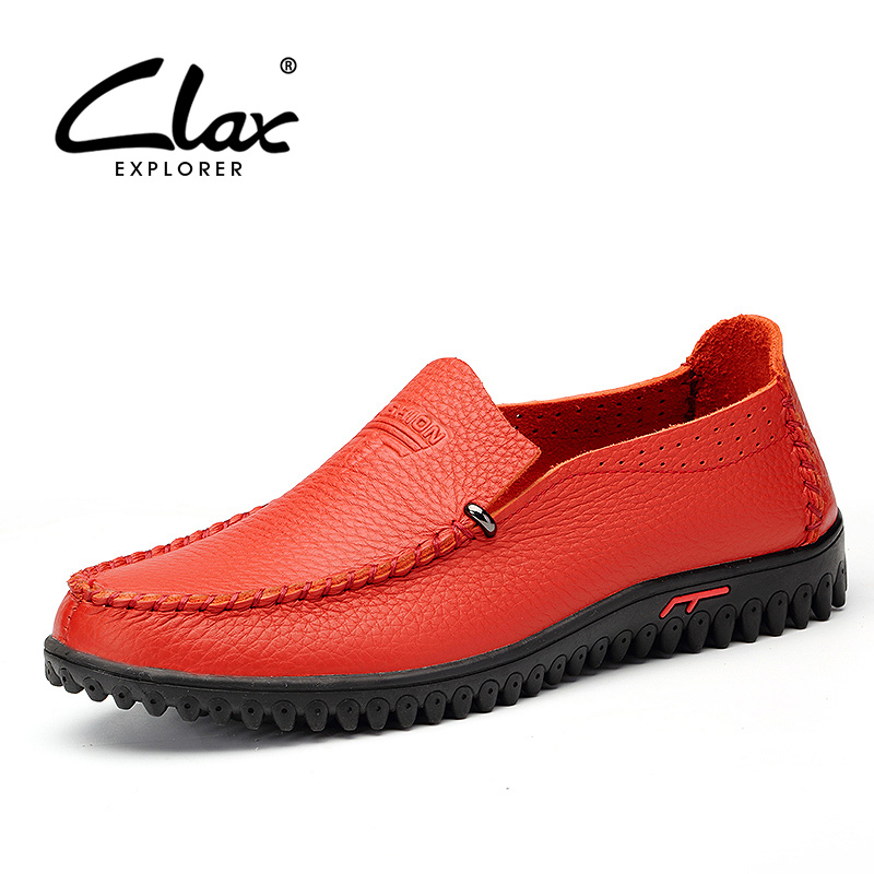 CLAX Men's Boat Shoes Genuine Leather 2018 Summer Breathable Casual Footwear Male Loafers Leisure Shoe Handmade Big Size 45 46 2017 men genuine leather boat shoes male british style retro flat shoe fashion leisure handmade sapato masculino d30