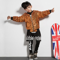 Dzieci Hip-Hop Wydajność Odzież Koreański Chłopiec Złoty Sequined Kurtka Dzieci Stage Show Taniec Jazzowy Stroje Dla Dziewczyn