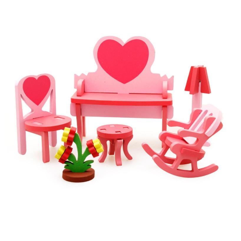 Новые детские развивающие игрушки деревянные 3D Puzzle Главная стол стул комод Розовый игрушка-головоломка Cubo Хаутен speelgoed Самые низкие цены