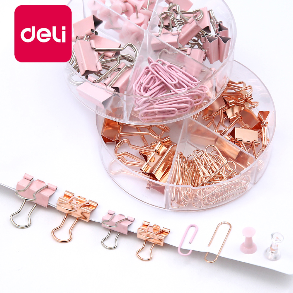 1PCS Pink Metal Paper Clip Stationery Set Multipurpose Thumbtacks Office Document Data Paper Storage Sorting Long Tail Clip