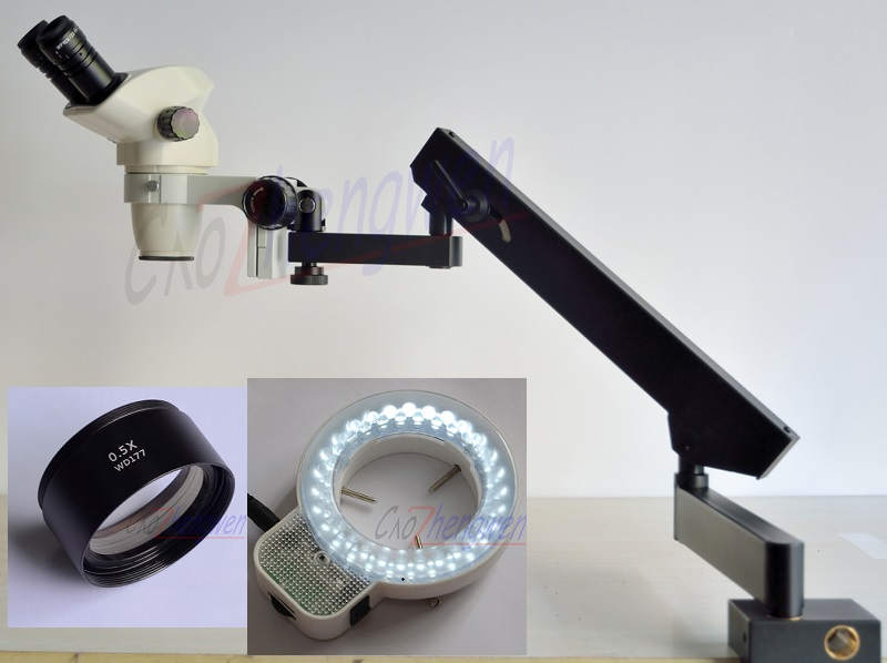 FYSCOPE 3 35X 45X STEREO ZOOM BINOCULAR MICROSCOPE ARTICULATING STAND WITH CLAMP 56PCS LED