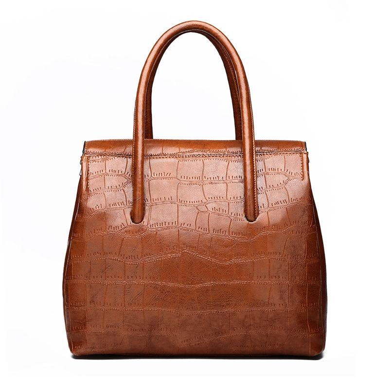 Brown Women Handbag Large Capacity Leather Totes Ladies Hasp Shoulder Bags Soft Cross Body Bag