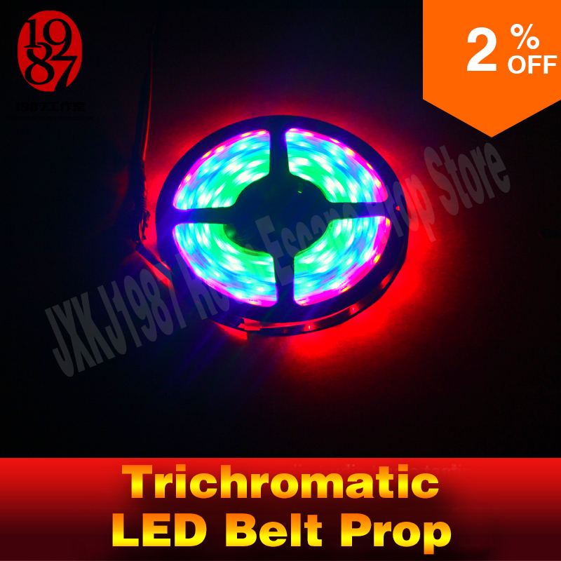 Real life escape room prop Trichromatic led belt prop Light on the right segments of different colored to unlock from jxkj1987 sending rope rooster mascot guard natural obsidian statue of the buddha real life