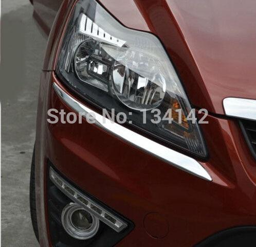 Auto Decoration Chromed Head light Eyelid Eyebrow lines molding moulding trim For Ford Focus Hatckback 2 mk2 mk 2 2009 2010 2011