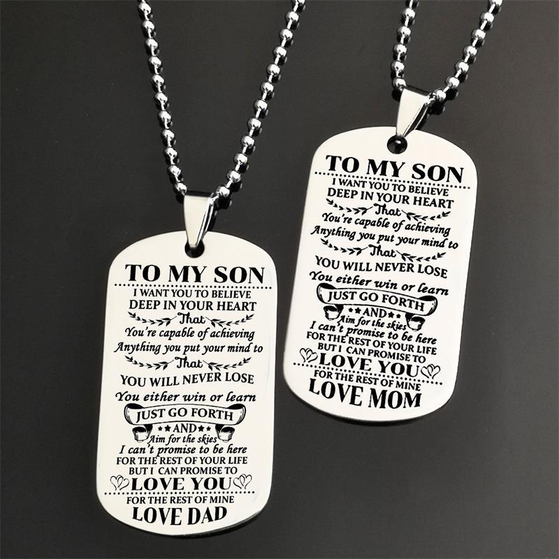 MISSITA TO MY SON Stainless Steel Pendant Necklaces Engrave Name Love Dad/Mum ID Tag Necklaces Customized Logo Jewelry