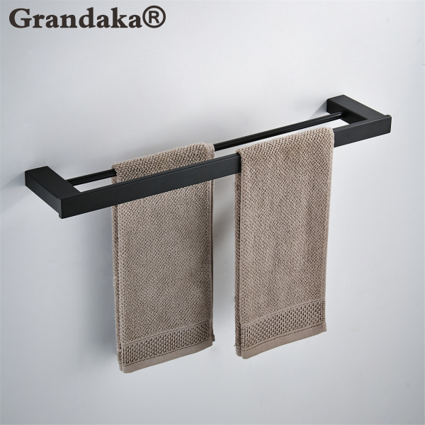 SUS 304 Stainless Steel Black Matte Wall Mounted Towel Double Bar Towel Rack Fashion Towel Storage