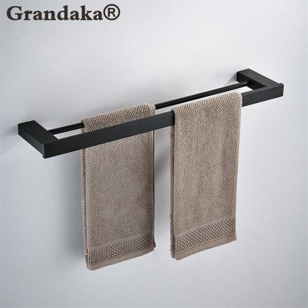 SUS 304 Stainless Steel Black Matte Wall Mounted Towel Double Bar Towel Rack Fashion Towel Storage Rack Bathroom Accessories-in Towel Racks from Home Improvement    1