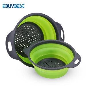 Image 2 - Faltbare Silikon Sieb Obst Gemüse Waschen Ablassen Sieb Korb Sieb Faltbare Sieb Mit Griff Küche Werkzeuge