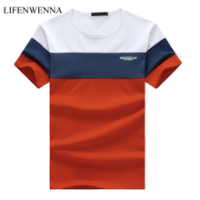 New Summer Men's T Shirt 2019 Fashion Striped T Shirt Mens Clothing Trend Slim Fit Short Sleeve Casual Mens Top Tees Shirt 5XL