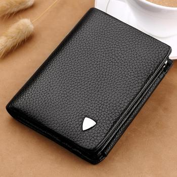 WilliamPOLO luxury brand Wallets Men Genuine Leather Trifold Card Holder Purse Clutch Wallet Men Leather Coin Pocket Coin Purse