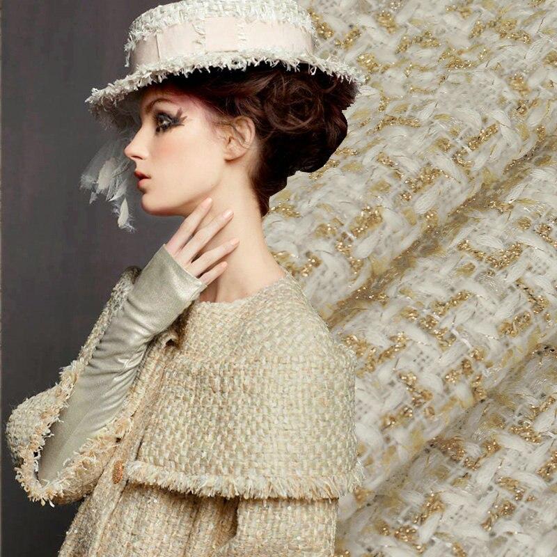 Твидовая ткань из 7 цветов золота, твидовая ткань высокого качества с окрашенной пряжей для женского пальто, твидовая ткань из металлической золотой муфты муфты ганзена