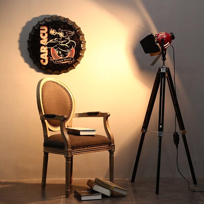 Haute qualité Vinatge Loft rouge phare 800 w bois aluminium lampadaire LED pour photographie Studio atelier lumière réglable 1005