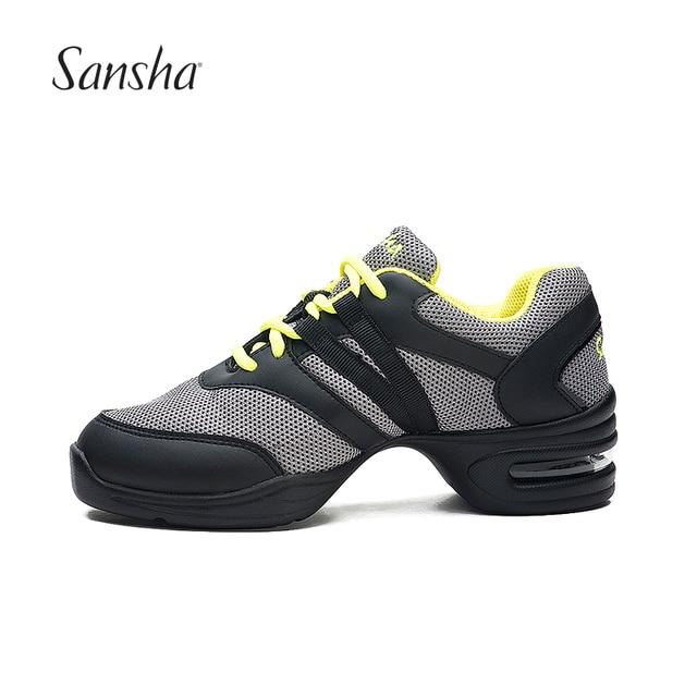 fb17fe4eb5d Sansha Dance Shoes For Girls Sport Soft Outsole Breathable Mesh Upper Salsa  Modern Dance Sneakers H118M