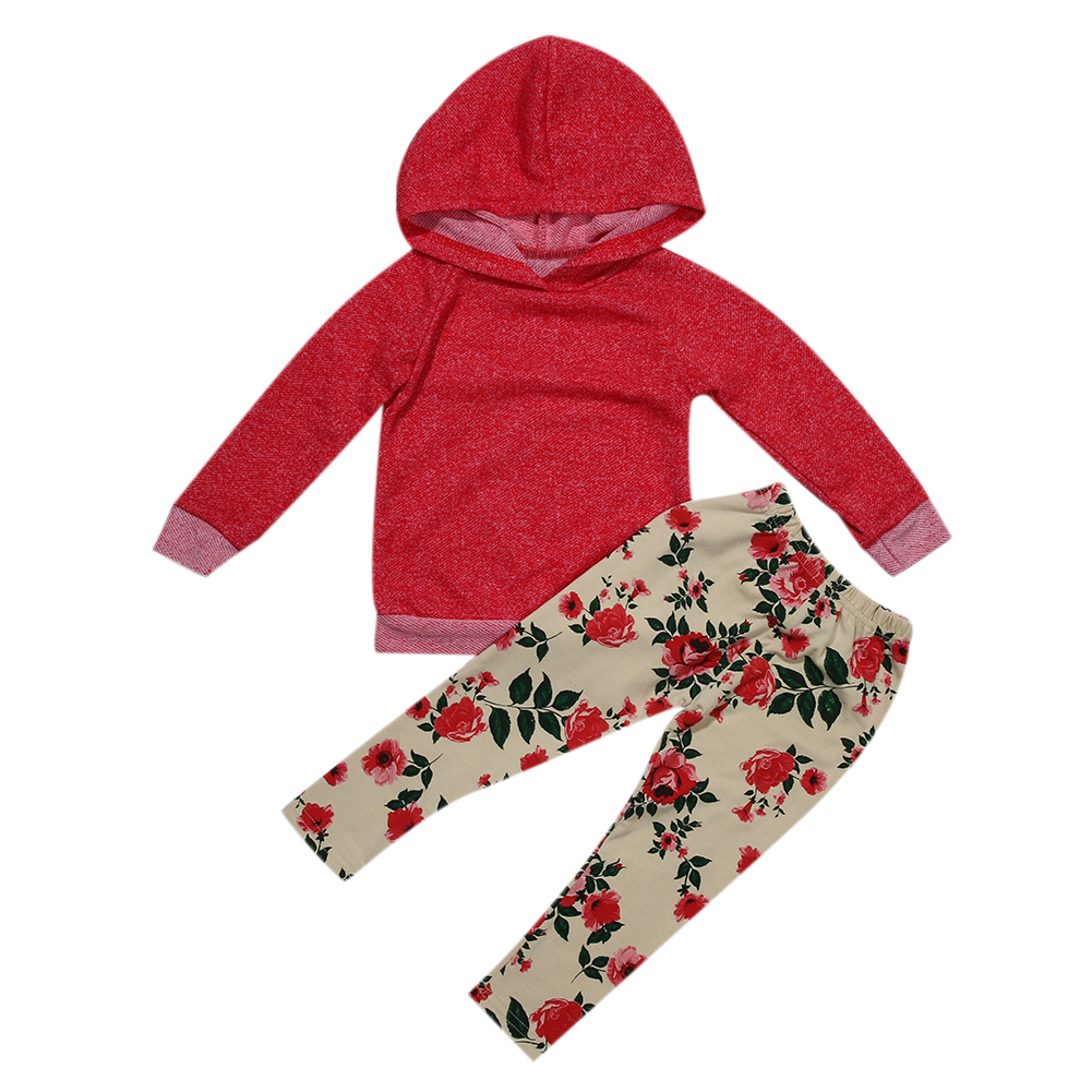 2pcs Unisex Clothes Baby Kids Hooded Long Sleeve Tops+Flower Printed Long Pants Winter Cotton Baby Boys Girls Clothes Set