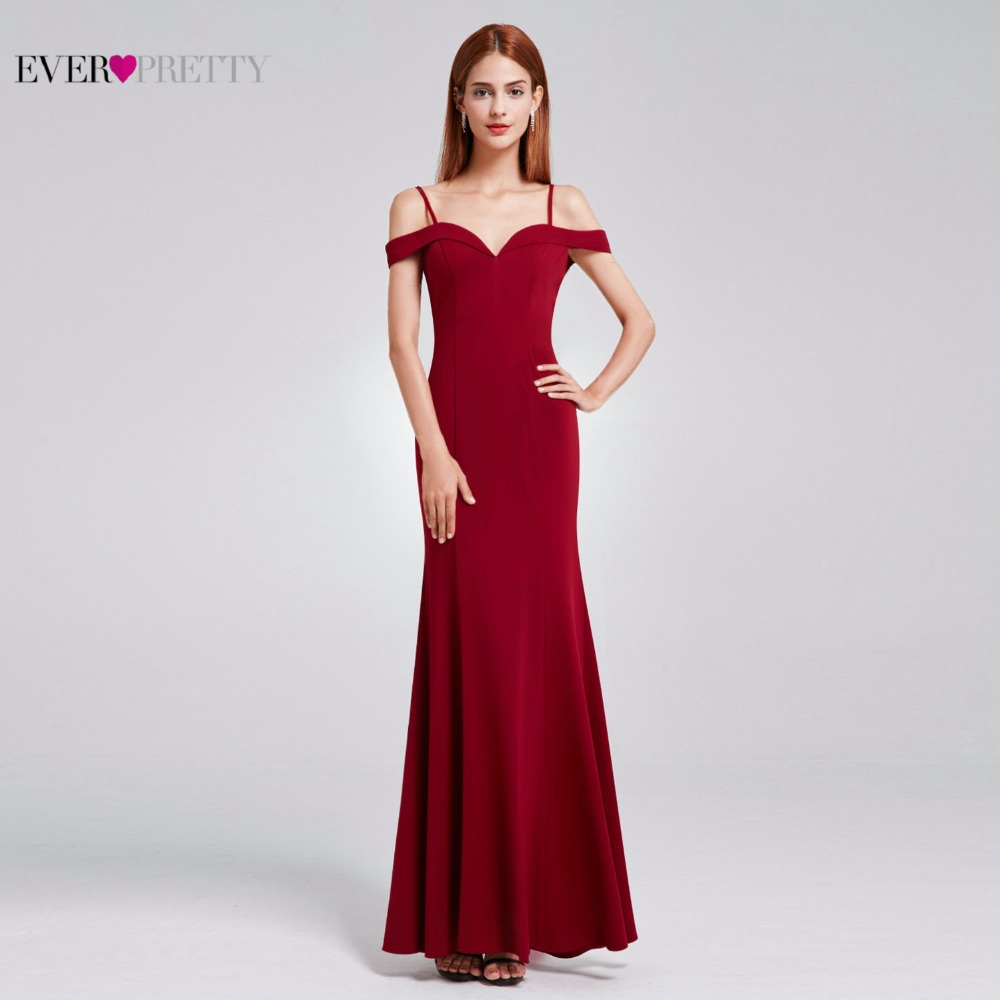 Prom Dresses Sexy V-neck Womens Elegant Off-the-shoulder Sleeveless Long Prom Party Dresses Ever Pretty EP07017 2017 ...