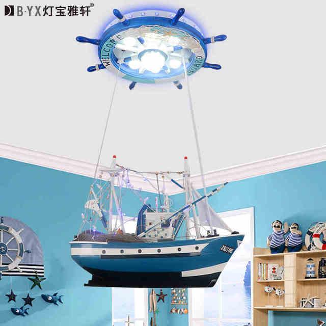 Mediterranean children's bedroom Big rsailing boat  pandent light boy remote control LED personality creative rudder lighting