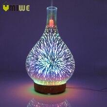3D фейерверк стеклянная ваза форма увлажнитель воздуха со светодио дный ночной подсветкой аромат эфирные масла диффузор тумана ультразвуковой увлажнитель