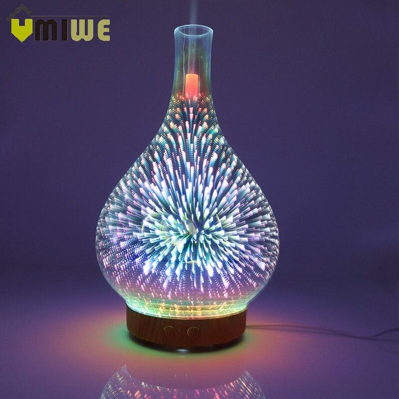 Fogos de Artifício 3D Vaso De Vidro Forma Umidificador de Ar com Luz LED Noite Aroma do Óleo Essencial Difusor Umidificador Fabricante Da Névoa Ultra-sônica