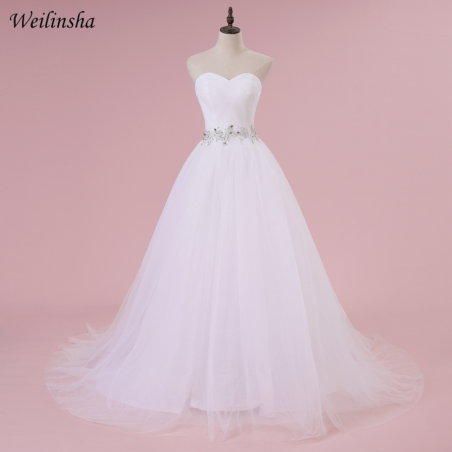 Weilinsha In Stock Cheap Wedding Dress Sweetheart Sleeveless Pleats A line Corset Wedding Dresses Vestido de