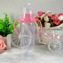 240ml Cute Baby bottle Newborn Infant Children Learn Feeding Drinking Handle Bottle Kids Straw Juice Water Bottles Training Cup