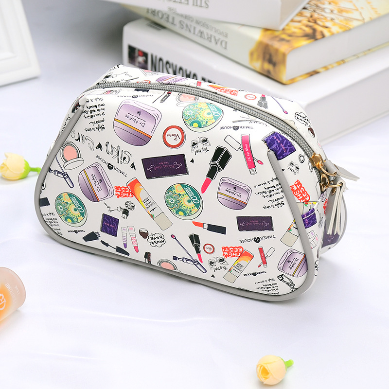 New Cartoon Picture Printed Cosmetic Bag Women Makeup Bag Female Zipper Cosmetic Bag Portable Travel Make Up Pouch Friend's Gift new arrival female zipper cosmetics bag large cosmetic bag women make up bags portable travel make up pouch