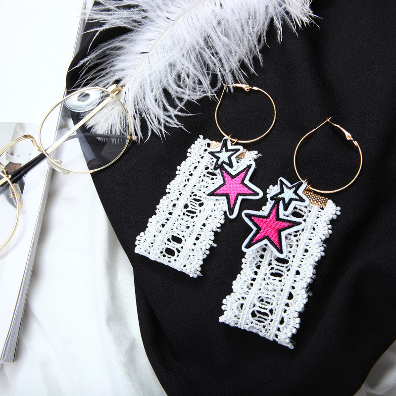 Korean Earrings Punk Ladies Lace Five Pointed Star Circle Earrings For Women Cloth Exaggerated Earings Fashion Jewelry Brincos