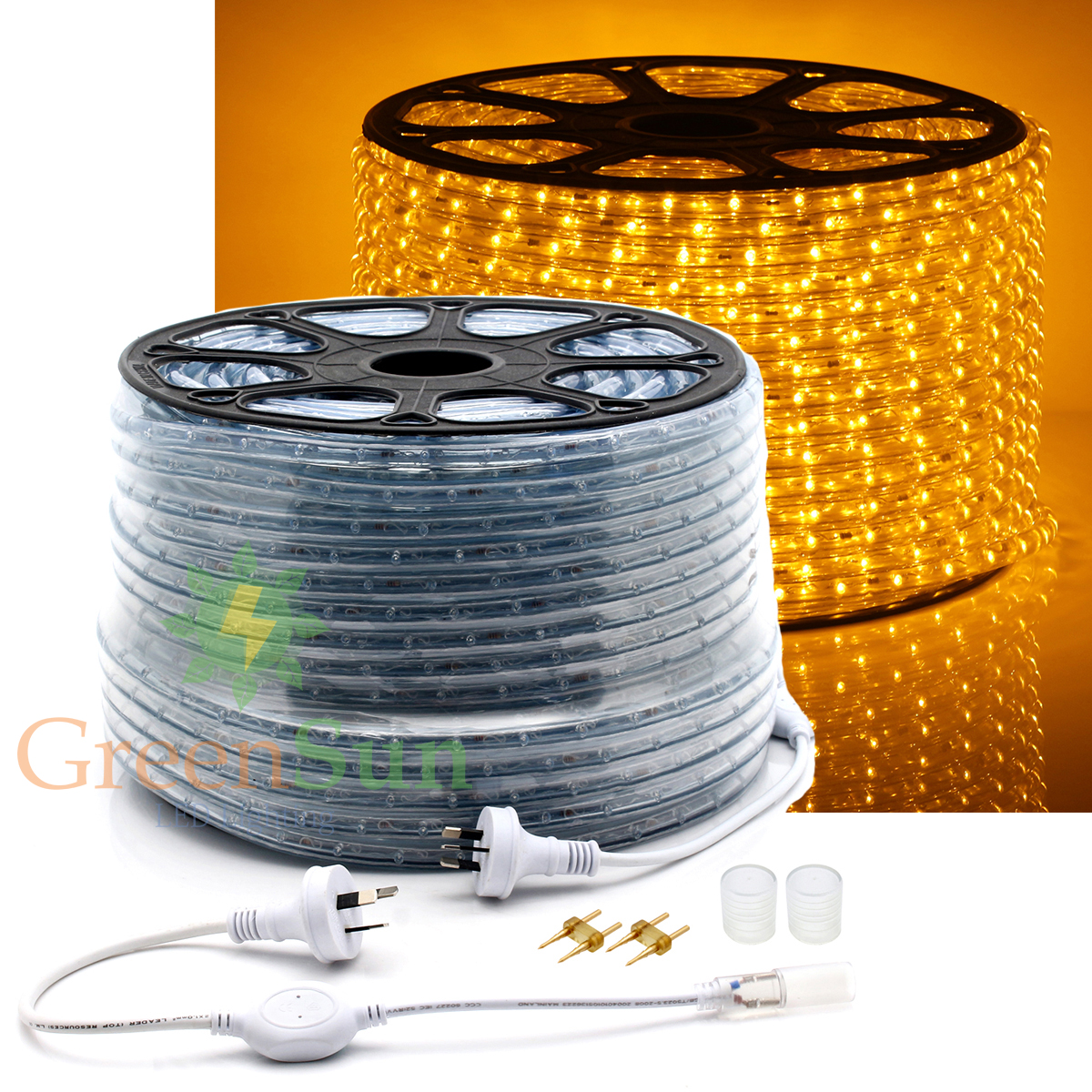 ФОТО 20-50M M36 leds/m 2-Wire Waterproof IP68 Yellow LED Strip Rope Light Home Garden Xmas Lamp LED Strip Light With Power line