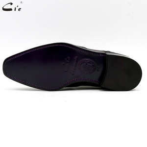 Image 5 - Chaussures en cuir de veau peint à la main, Double bretelles moine, gris et noir, boucle pleine grains, respirantes, pour hommes, cie MS03