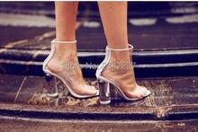 Ясно ПВХ Женщины Ботильоны Peep Toe Прозрачный Взлетно-Посадочной Полосы Платье Кристалл Пятки Ясно резиновые сапоги На Высоком Каблуке Кардашян