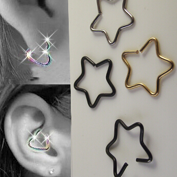 1PCS 18G 5 Star Shape Earring Nose Ring Tragus Piercing Nipple Labret Anodized Seamless Endless Tragus Cartilage Hoop Ring