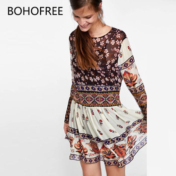 BOHOFREE Inspired Gpysy Women Floral Chiffon Dress Femme Oversized Loose Vestidos Boho Chic Mujer Long Sleeve Bohemia Dress floral chiffon dress long sleeve