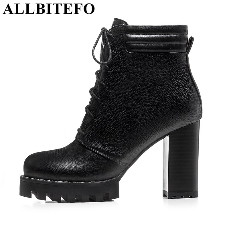 ALLBITEFO thick heel genuine leather platform women boots sexy high heel shoes lace-up high quality martin boots girls boots mcckle women s lace up rivets buckle ankle martin boots ladies fashion thick heel platform high quality leather autumn shoes