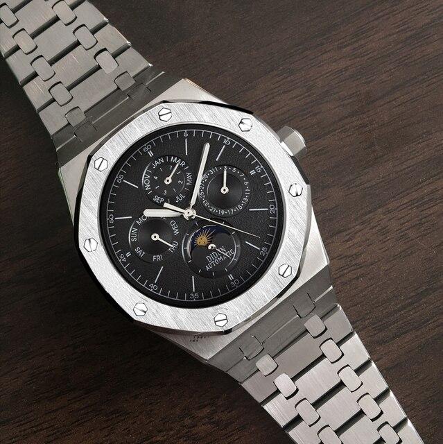ساعة أوتوماتيكية للرجال ساعة ميكانيكية فاخرة ماركة فاخرة ذكر القمر المرحلة الغوص التقويم ساعة اليد مقاوم للماء