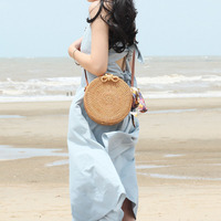 YFGXBHMX Vietnamese Hand Woven Rattan Storage Basket Round Rattan Bag Summer Bow Straw Organizer Storage Bag