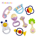 Baby Toys 5PCS Plastic Hand Jingle Shaking Bell+Kidsbele Infant Soft Books Newborn Baby Toys 0-12 Mnoths Teether Rattles Toys